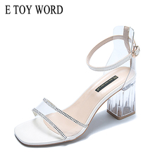 E TOY WORD Sandals women 2019 Summer New sexy fashion mid heel sandals Crystal heel strap buckle open toe Thick Heel Women Shoes 2018 new spring thick with heel women sandals shoes mixed colors leather flock round toe square strap heel women single pumps40