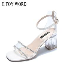 E TOY WORD Sandals women 2019 Summer New sexy fashion mid heel sandals Crystal heel strap buckle open toe Thick Heel Women Shoes цены онлайн