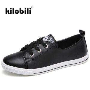 Image 5 - Kilobili Mùa Xuân 2018 Đế Phẳng nữ Phối Ren ba lê căn hộ cho Nữ Giày da nữ thuyền giày nữ giày sneaker trắng