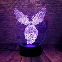 3D Illusion lampe à LED LED 7 couleurs changeante veilleuse bureau décor aigle crâne Animal Figure ose-à-mourir Corps emblème modèle jouets