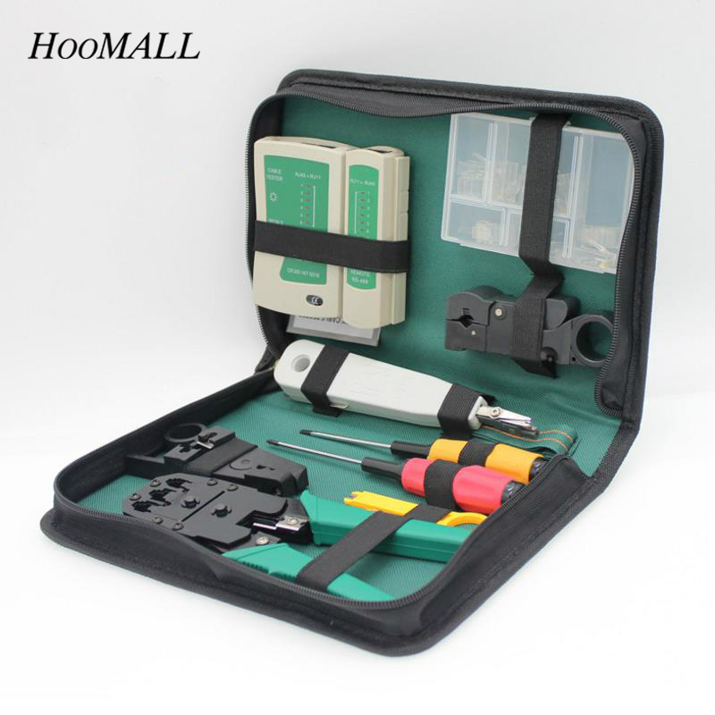Hoomall 11Pcs Network Combination Manual Tool Set Crimping Pliers Screwdrivers Tool Wire Stripper LSA Cable Tester Tools kit jumpro mother s day gift 77pc ladies tools pink tool set home tool hammers pliers knife screwdrivers wrenches tapes hand tool
