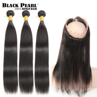 Black Pearl Pre Colored Remy 360 Lace Frontal With Bundles Striaght Human Hair Brazilian Hair Weave