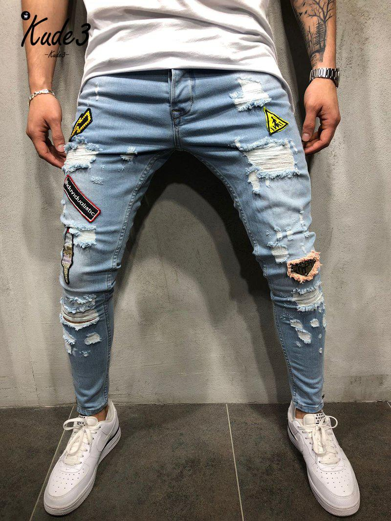 KUDE 2019 Fashion New Male Hole Badge Embroidery Denim Trousers Pants Men Streetwear Hiphop Skinny Casual Patch Jeans 7479