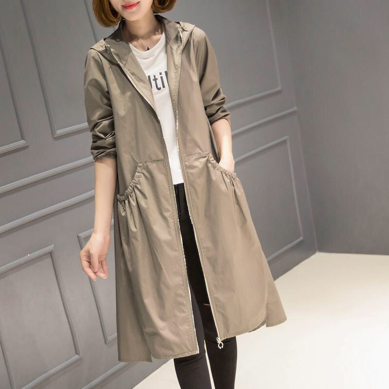 2019 Spring Autumn New Korean Casual Windbreaker Ladies Vintage loose Large Size thin Long   Trench   Coat for Women Hooded Top V867