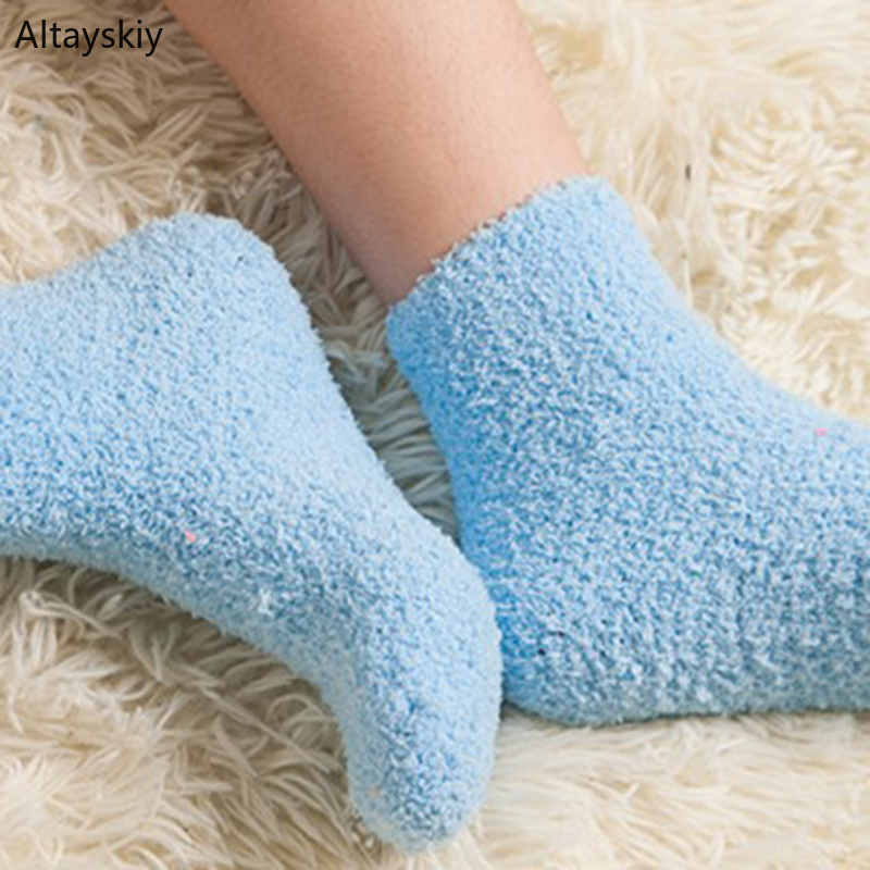 Socks Women Furry Velvet Girls Cute Womens Fluffy Winter Warm Home Indoor Floor Terry Sock Thicker Solid Female 2020 Chic Soft