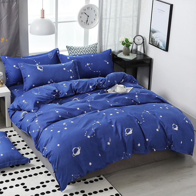 3/4Pcs/Set Cotton Blue Kids Comforter Bedding Sets Space Student Dormitory Bed Linings Duvet Quilt Cover Sheet Set Home Textile