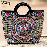 Ellacey Women Floral Embroidered Handbags Top Handle Casual Tote Bags Embroidery Chinese Style Handmade Cotton Fabric