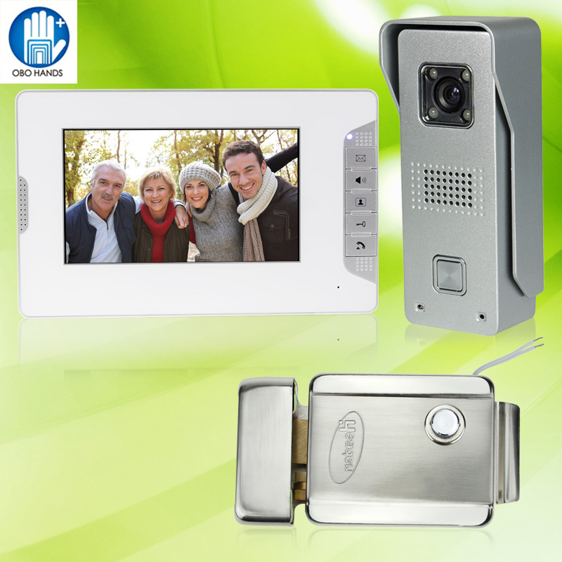 7 inch Wired Color Video Doorbell Intercom System Kit Set with 1 Outdoor IR Camera+1 White Monitor+DC 12V Electric Control Lock original 7 inch touch screen dahua dh vth1550ch color monitor with to2000a outdoor ip metal villa outdoor video intercom system