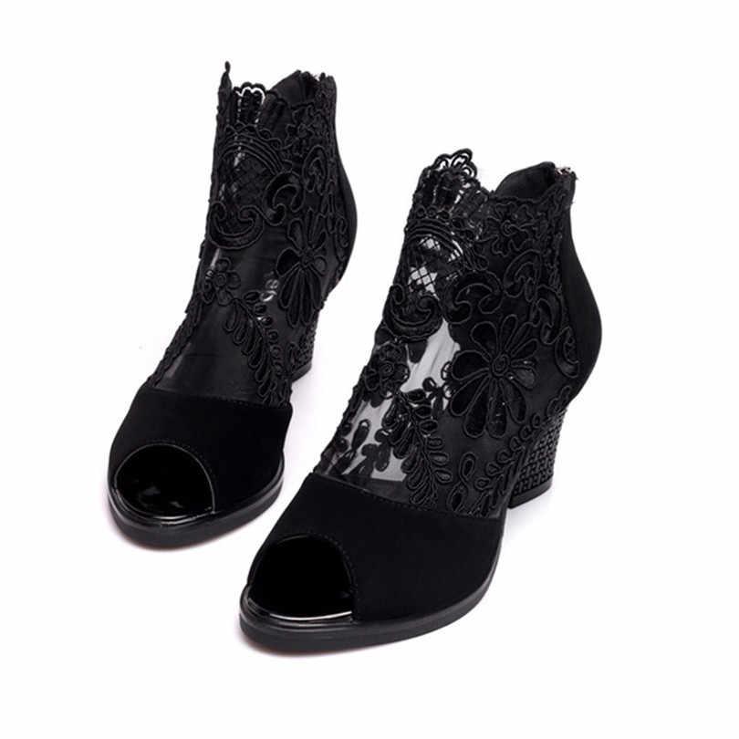 לין מלך מתוק תחרה פרחוני נשים מרי Janes משאבות רוכסן ציוץ הבוהן פלטפורמת נעליים עקב גבוהה סנדלי נעלי מסיבת קוספליי בתוספת גודל