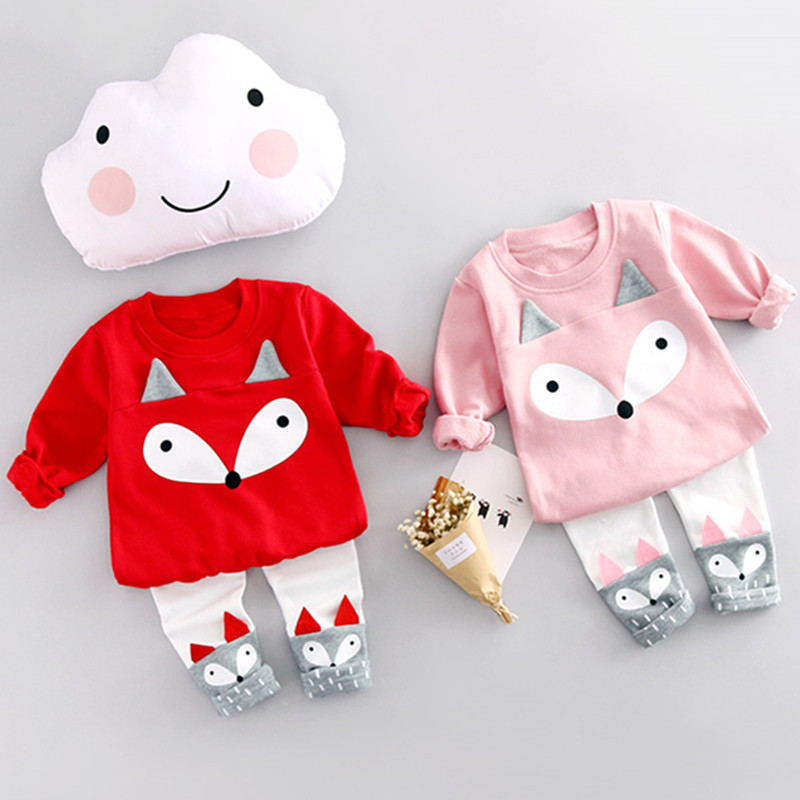 2017 New Spring Autumn Children Clothing Set Cartoon Fox Baby Girl Pullover Top+Leggings Long Sleeve T-shirt Toddler Clothing autumn new cartoon elephant printed long sleeve children sweater boy girl pullover top shirts sweatshirt clothing