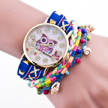 Cindiry Fashion Colorful Owl Desigh Conch Bracelet Watch Glass Mirror Quartz Wristwatches For Women Girl P0.21