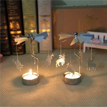 Rotary Spinning Carousel Candle Lantern Holders For Christmas Table Centerpieces Dining Room New Year