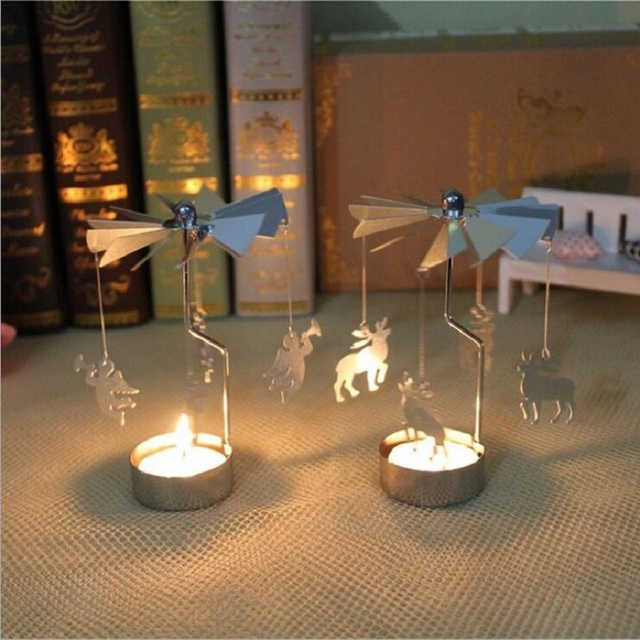 Superbe Rotary Spinning Carousel Candle Lantern Holders For Christmas Table  Centerpieces Dining Room Candle New Year Christmas
