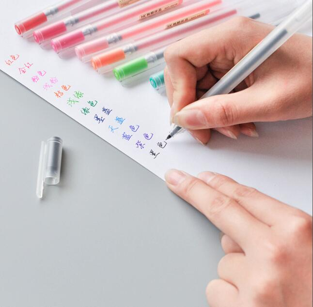 12 Colors 0.5mm Transparent Scrub Gel Pens Colour Ink Pen Art Markers for School Student Office Supply promotion touchfive 80 color art marker set fatty alcoholic dual headed artist sketch markers pen student standard