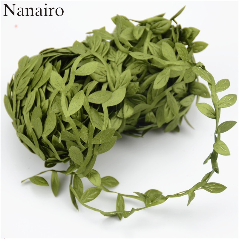 5m artificial green flower silk leaves rattan diy garland for Artificial leaves for decoration