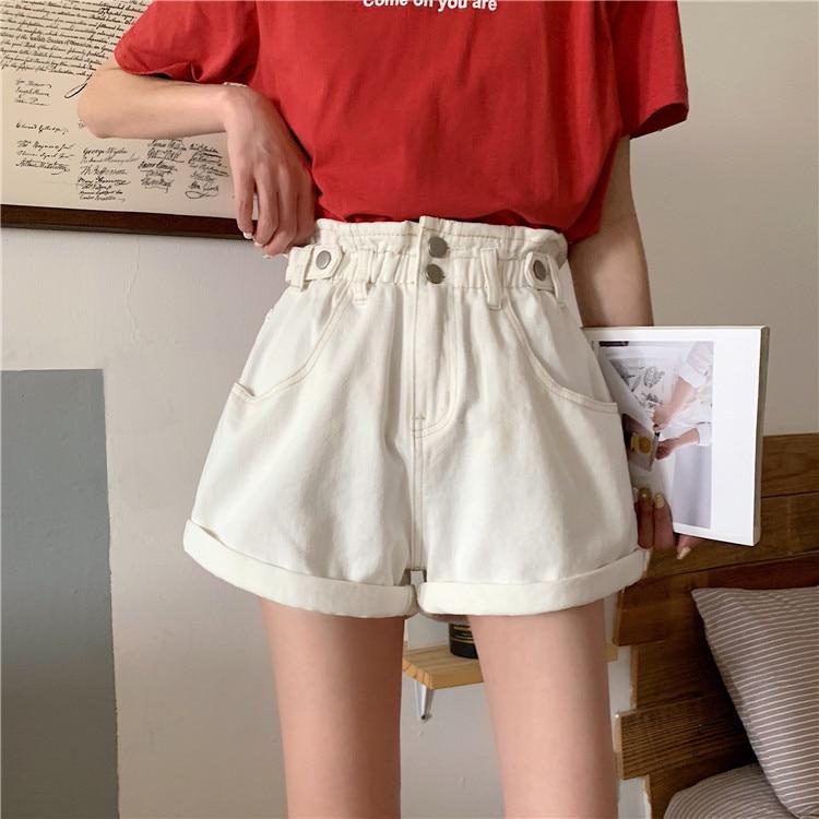 Summer white denim shorts for girls