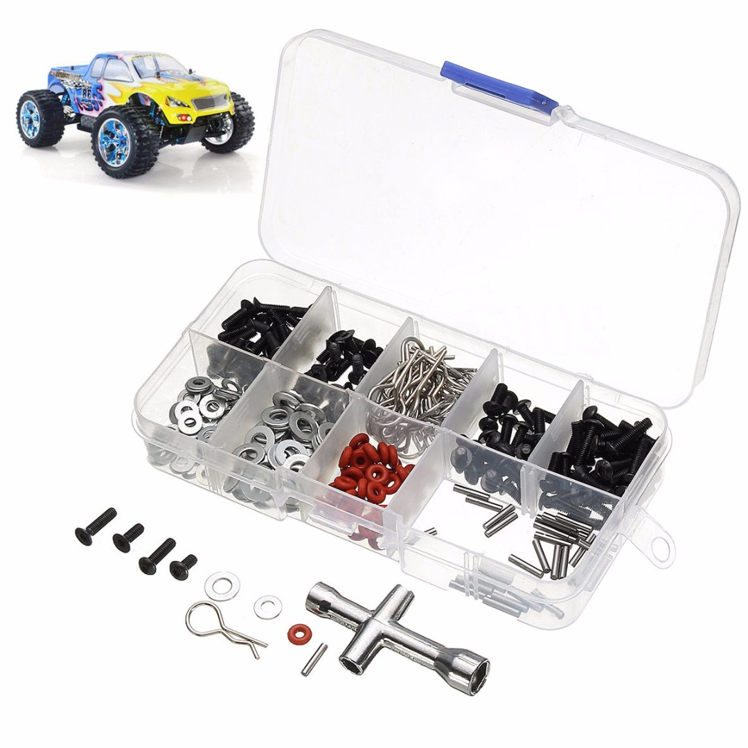 270pcs Metal RC Car Screw in One Set Screws Box Repair Tool Kit With Hexagon Wrench For 1/10 HSP RC Car Accessories Mayitr