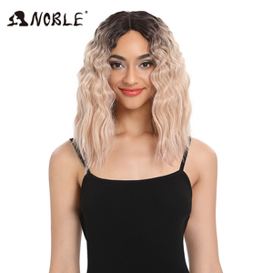 Image 2 - Noble Hair Synthetic Wigs Lace Front ombre  Wig 16 Inch Medium Wavy African American For Black Women Synthetic Lace Front Wig
