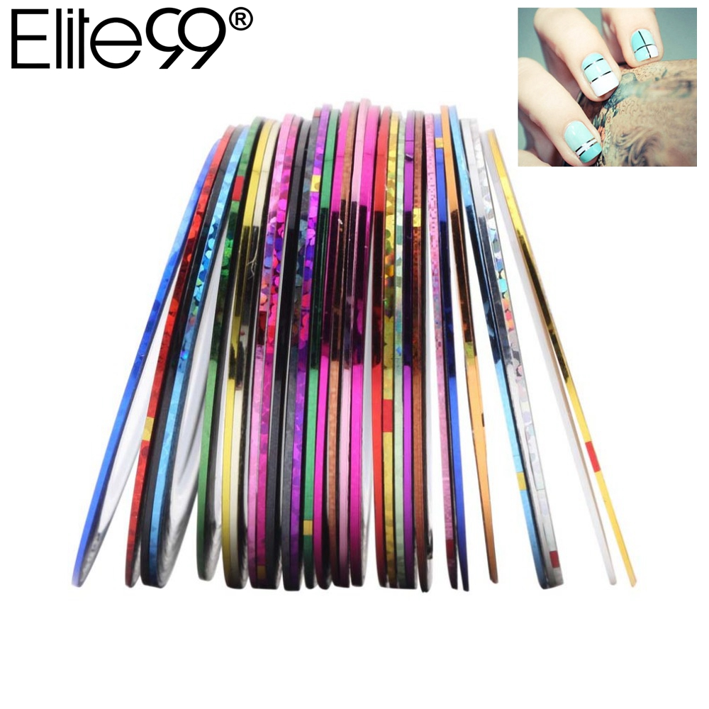 Elite99 10pcs Multicolor Mixed Colors Rolls Striping Tape Line Nail Art Tips Decoration Sticker DIY Nail Tips 10pcs pack 2mm mix colors rolls metallic adhesive striping tape wide line diy nail art tips strip sticker decal decoration kit