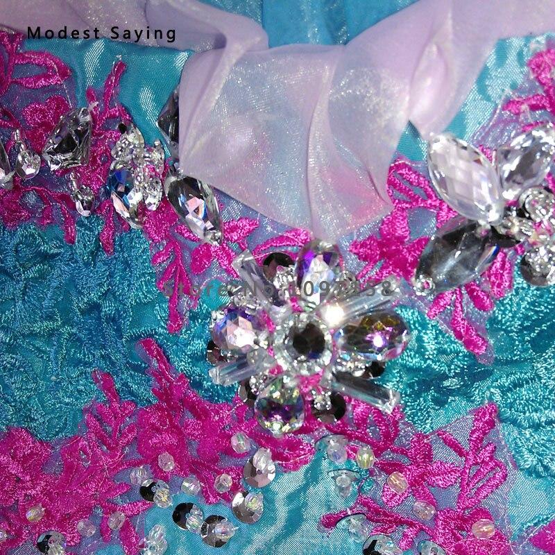 Prabangus mėlynas kamuolys suknelė karoliukas nėrinių gėlių - Suknelės vestuvėms - Nuotrauka 3