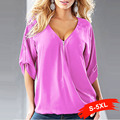 5Xl Fashion Women Plus Size Chiffon Blouses Zipper Deep V Neck Shirts Half Sleeve Sexy Ladies Pullover Tops For Women S 3Xl 4Xl