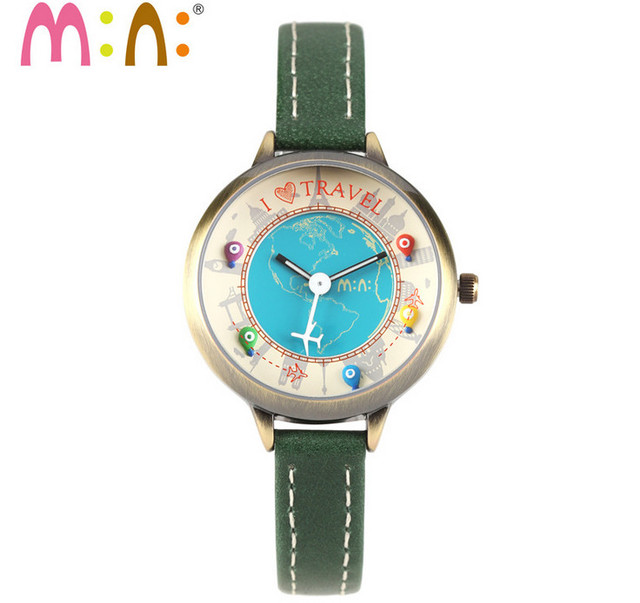 Worldwide Travelling Lovely Clay Balloons Airplane Girl Students Watches Fashion Thin Leather Band Women Quartz Wrist watch S037