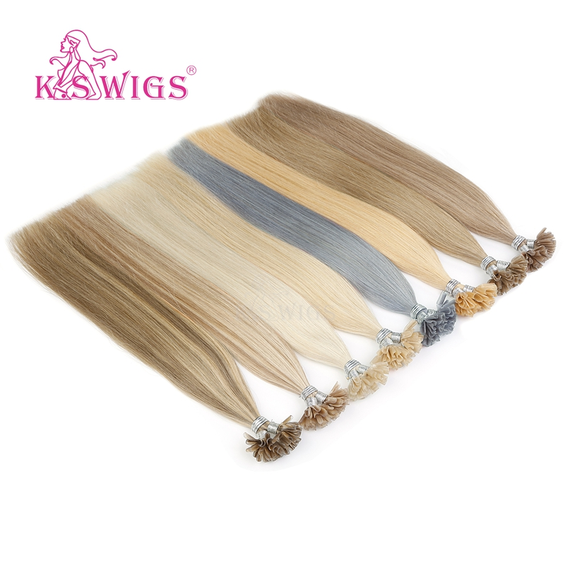 K.S WIGS 16'' 20'' 24'' 28'' Remy Keratin Pre Bonded Capsule Nail U Tip Human Hair Extensions Double Drawn Straight Fusion Hair