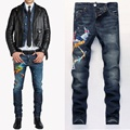 Uwback 2017 novo inverno marca phoenix bordados calças de brim dos homens magro reta jeans stretch denim patches jeans homme homens caa309
