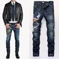 Uwback 2017 nuevo invierno marca phoenix bordado pantalones vaqueros de los hombres rectos delgados parches jeans stretch denim jeans homme hombres caa309