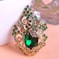 Blucome peacoke verde retro grande broche ramalhete do casamento corsages broches de cristal jóias vintage antique gold flor hijab pinos
