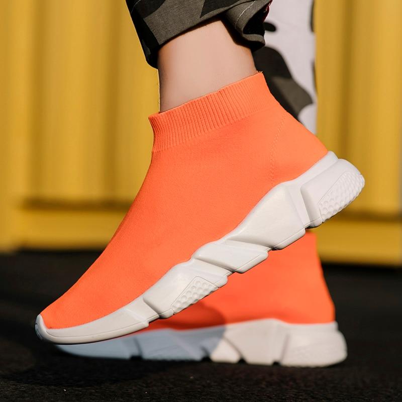 Couple Shoes Sock Sneakers Krasovki Slip-On Adulto Big-Size Unisex Brand Tenis Stretch