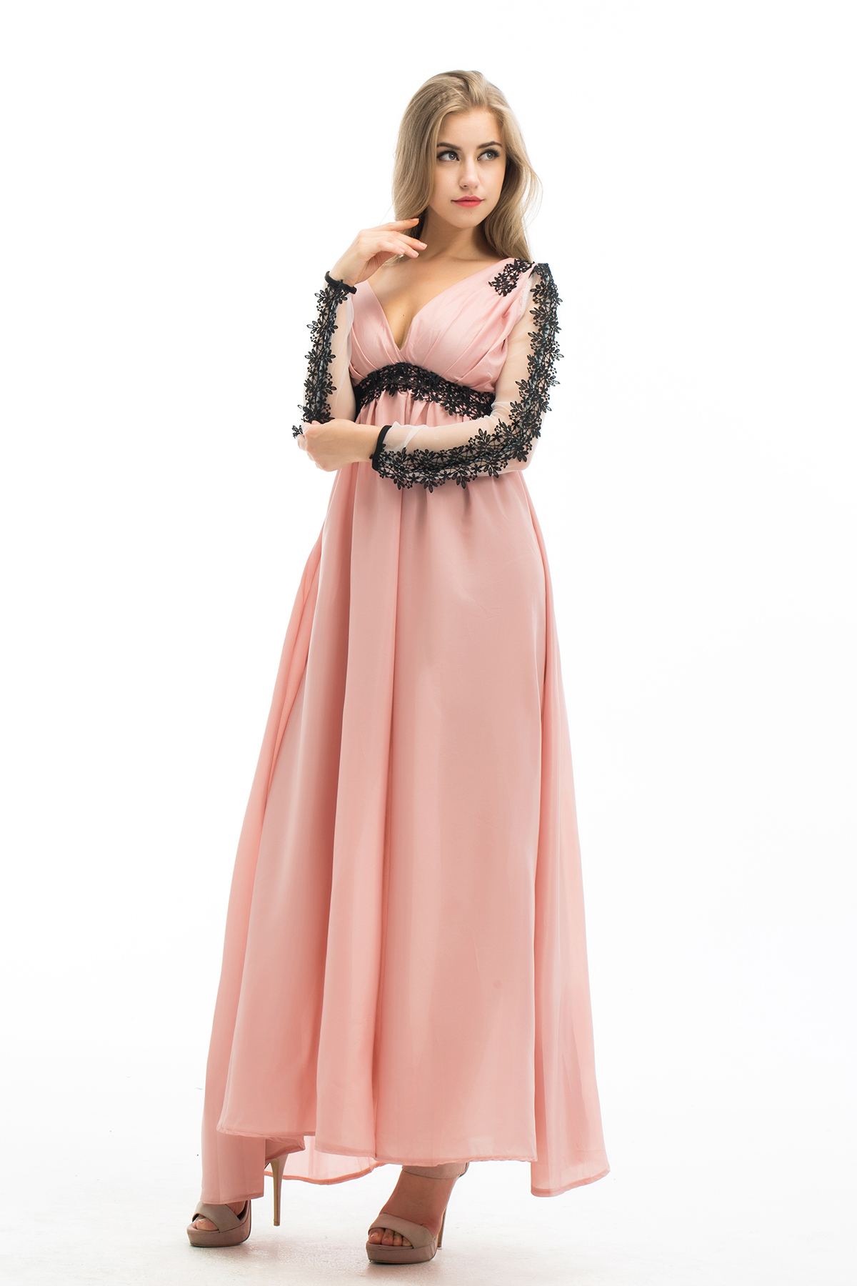 Hirigin Sexy Lace Chiffon Evening Formal Party Prom Long Lace Floral Sleeve V-Neck Gown Long Dress