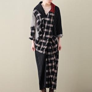 Image 2 - LANMREM 2020 primavera nueva moda Casual mujer literaria suelta más pecho largas y cruzadas a cuadros vestido de algodón y lino TC399