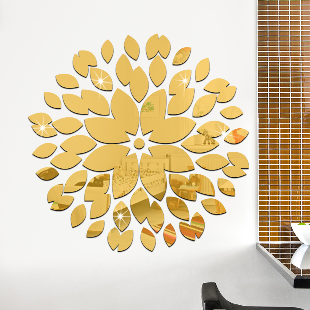 Round Petals Ceiling Decor Crystal DIY Mirror Effect 3D Wall ...
