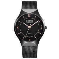 NORTH Top Watches Men Luxury Brand Mesh Steel Strap Slim Male Clock Men Watch Business Fashion