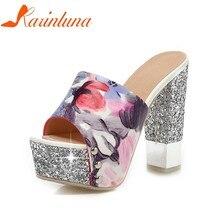 KARINLUNA Plus Size 32-43 brand Square high Heels Women Shoes Pumps Woman  Sexy Platform Wedding Bride Mules Shoes Woman e44679c6693c