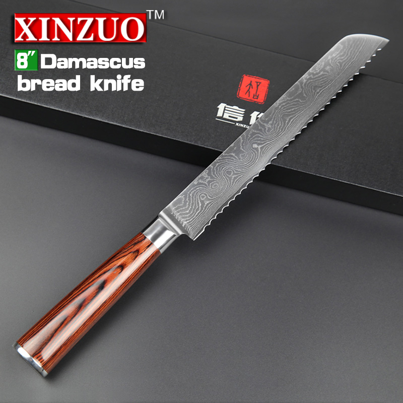 xinzuo 8 bread knife handmade vg10 damascus steel japanese kitchen knives for kitchen best quality supplies pakka wood handle in kitchen knives from home - Best Japanese Kitchen Knives