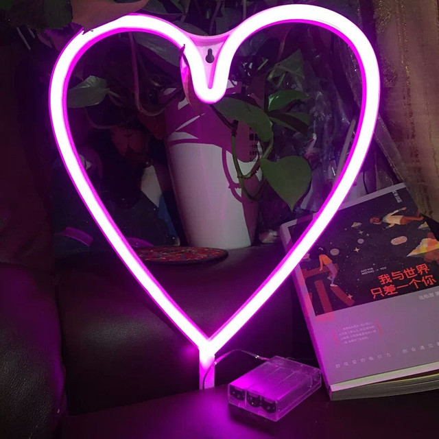 Ins Hot Led Heart Neon Sign Light Night Lamp Pink Usb Battery Ed Children Room Wall Decoration