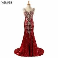 Luxury Arabic Evening Dresses Long 2018 Mermaid V Neck Floor Length Sparkly Beading Diamond Sequin Evening Gown Red Prom Dress