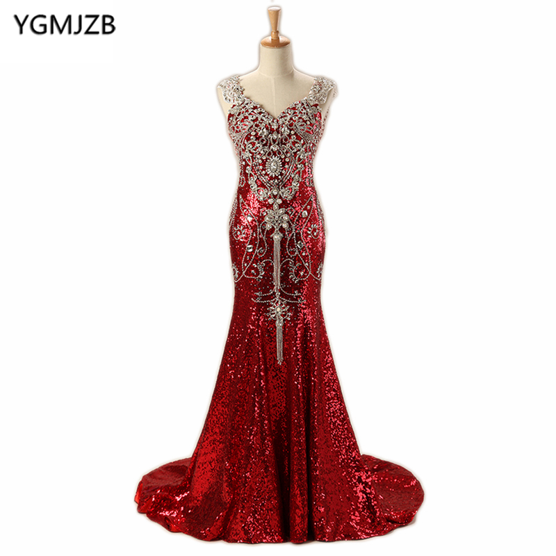 Luxury Arabic   Evening     Dresses   Long 2018 Mermaid V Neck Floor Length Sparkly Beading Diamond Sequin   Evening   Gown Red Prom   Dress