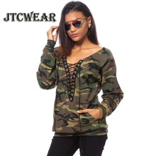 JTCWEAR Lace Up Deep V Neck Camouflage Woman Long Sleeve T Shirts Army Green/Yellow Sexy Lady Autumn Clothing Tee Shirt Tops 607