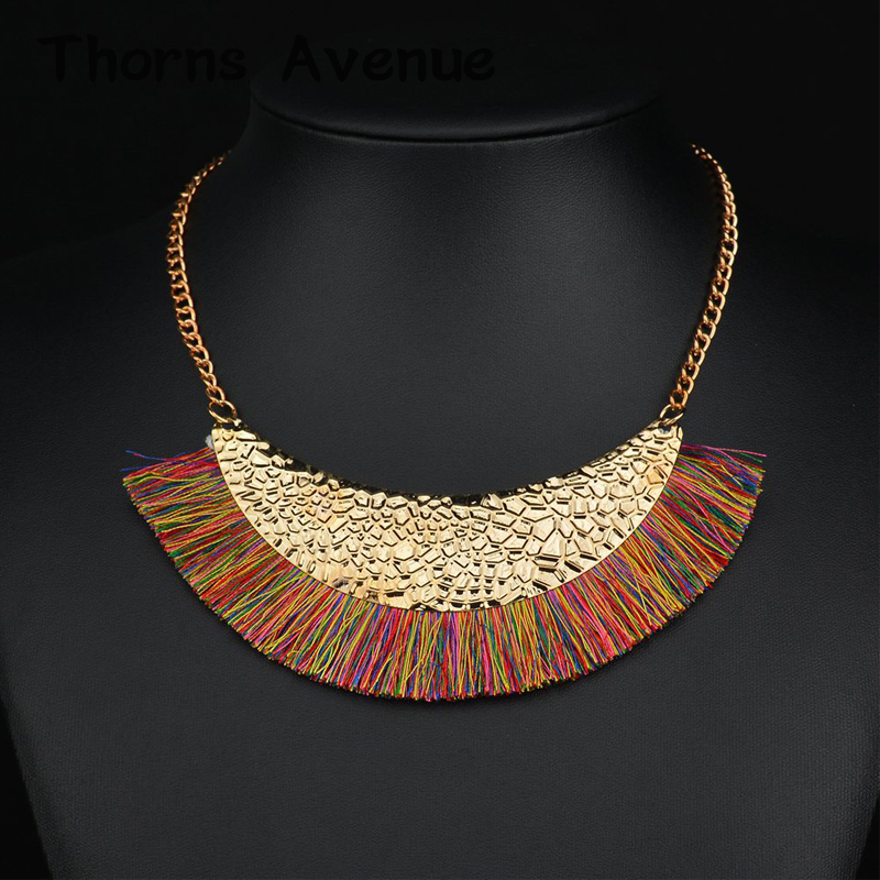 Thorns Avenue Fashion 7 Colors Collar Europe Necklace Tassel Alloy Bridal Wedding Jewelry Necklaces For Women Party