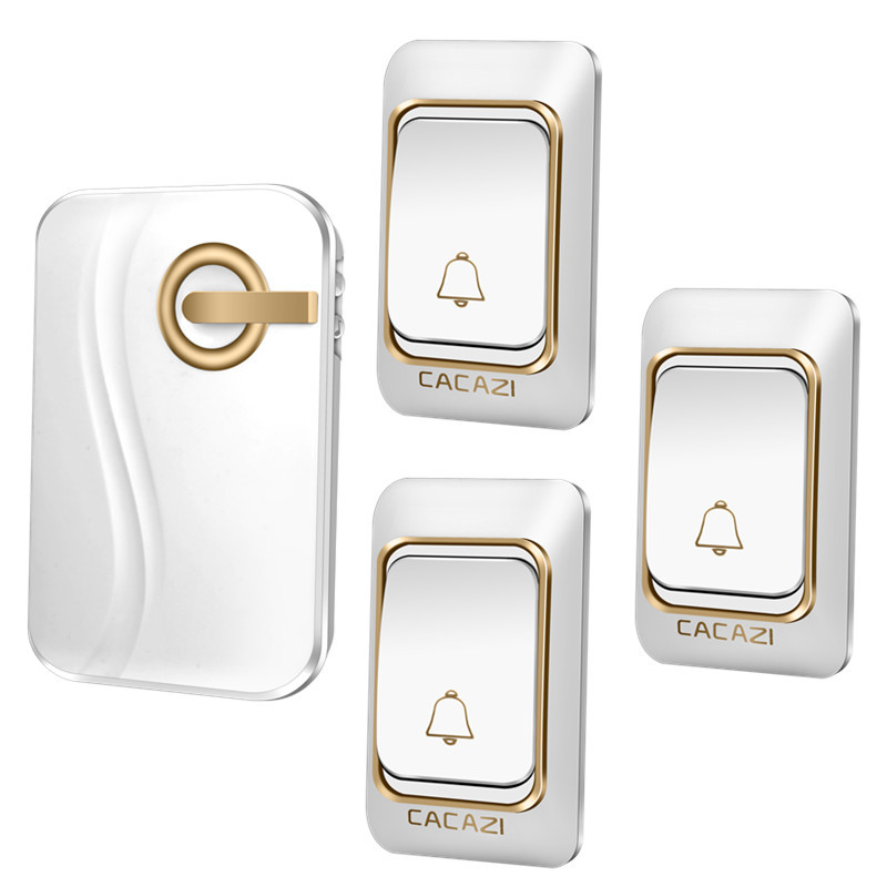 CACAZI Wireless Doorbell DC battery-operated 200M remote Door bell waterproof 3 transmitters 1 receiver 36 rings door chime  cacazi dc wireless doorbell need battery 150m remote waterproof gate door bell chime ring wireless 36 tunes 1 emitter 2 receiver