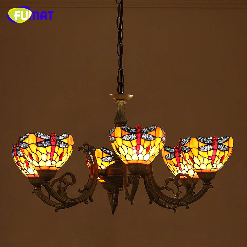 FUMAT Creative Pendant Light Dragonfly Stained Glass Lightings For Living Room Dining Room Artistic LED Large Pendant Lamps