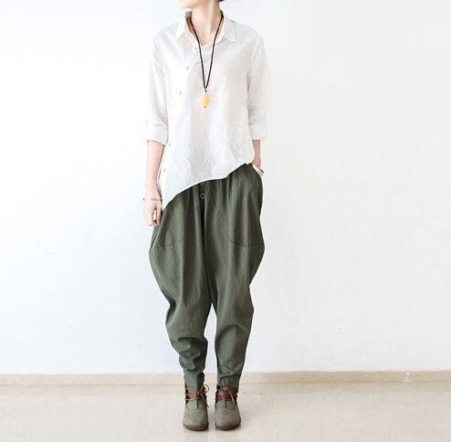 2017 Linen Pants Summer Autumn Women Harem Pants Female Leisure Style Bloomers Loose Trousers Ladies' Causal Pants Cotton Capris