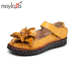 MAYLOSA Women Genuine Leather Summer Ladies Shoes ad469d17a2b4