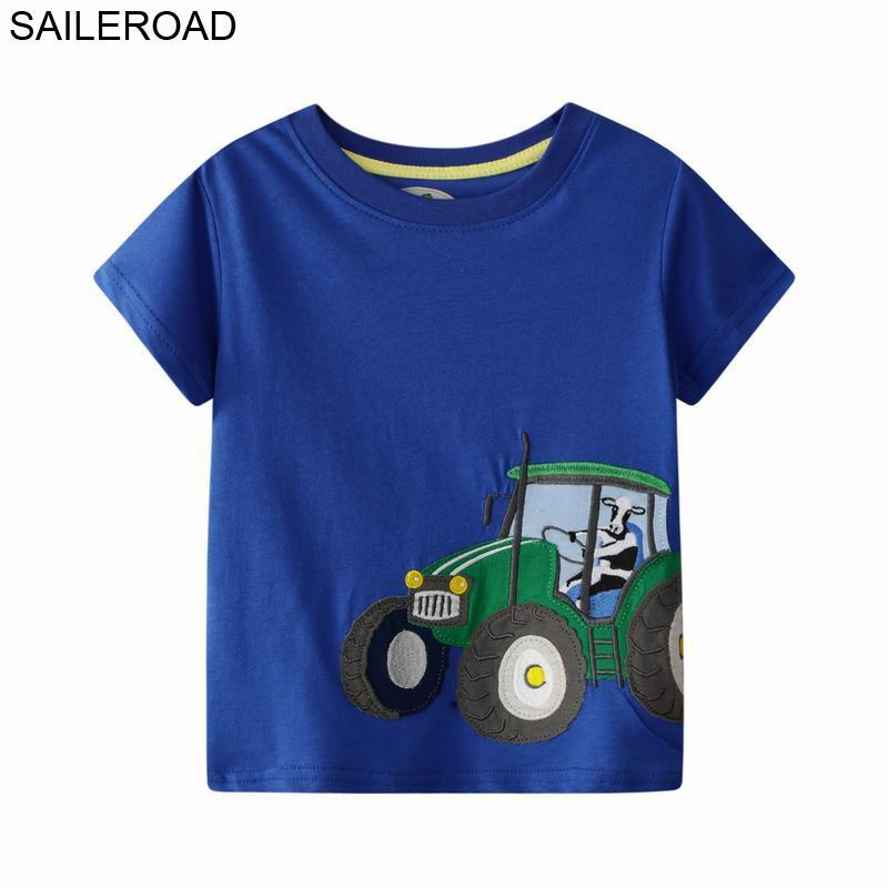 SAILEROAD Tractors Embroidery Boys Tops T Shirts Summer Children Short Sleeve Clothes For 7year Kids Clothes Cotton Girls Shirts