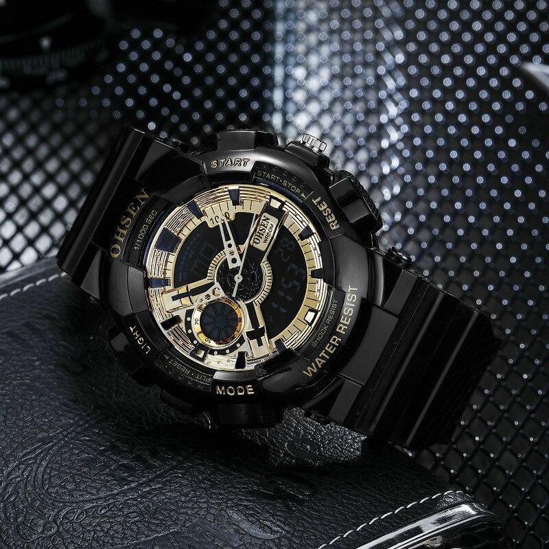 OHSEN Men Sport Quartz Watch Analog Digital LED Outdoor Waterproof Military Watches Chronograph Wristwatches Relogio AD1803