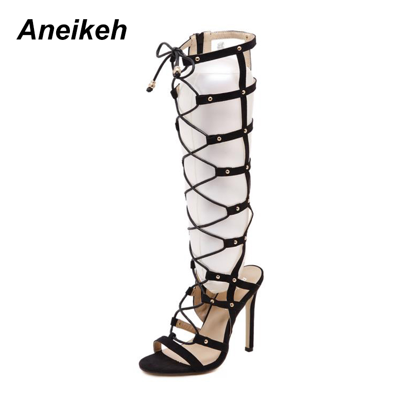 Aneikeh Cut Outs Zip Sexy Women's Sandals 2018 New Arrival Fashion Flock Shoes Women Lace Up Summer High Heels Pumps Sandalia цена