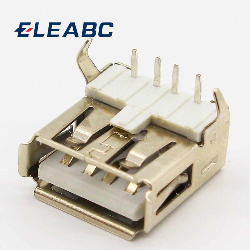 10pcs/lot USB 2.0 4Pin A Type Female Socket Connector G54 2 Feet 90 Degree Data Transmission Charging
